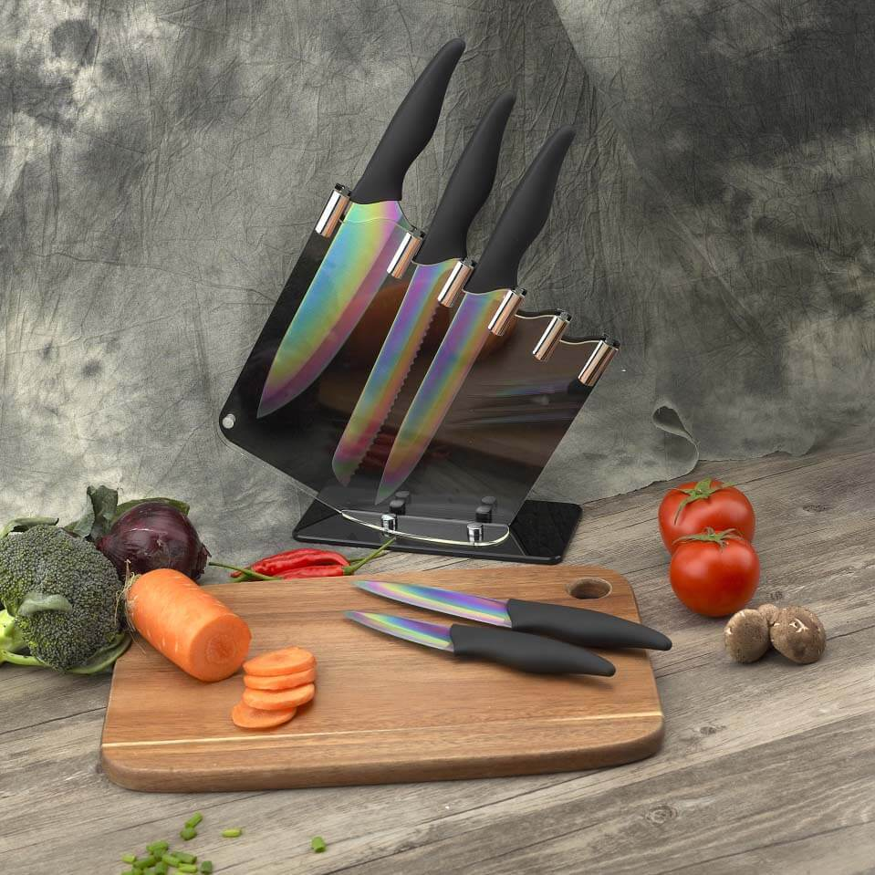 Rainbow Coloured Knife Set - Razor Sharp Titanium Coating Blades