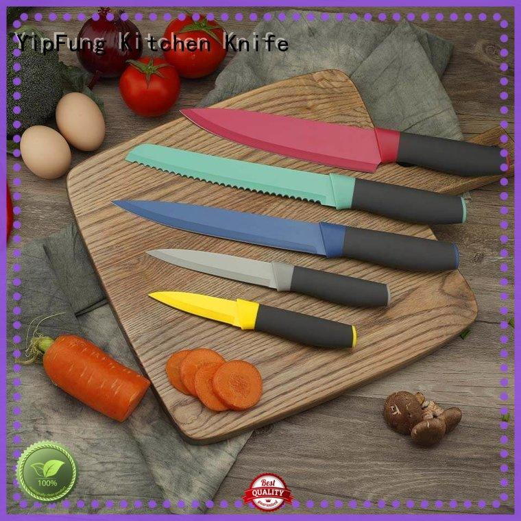 Yipfung Colourful Knives Set of 5,Stainless Steel Sharp Blade with Non Stick Coating.