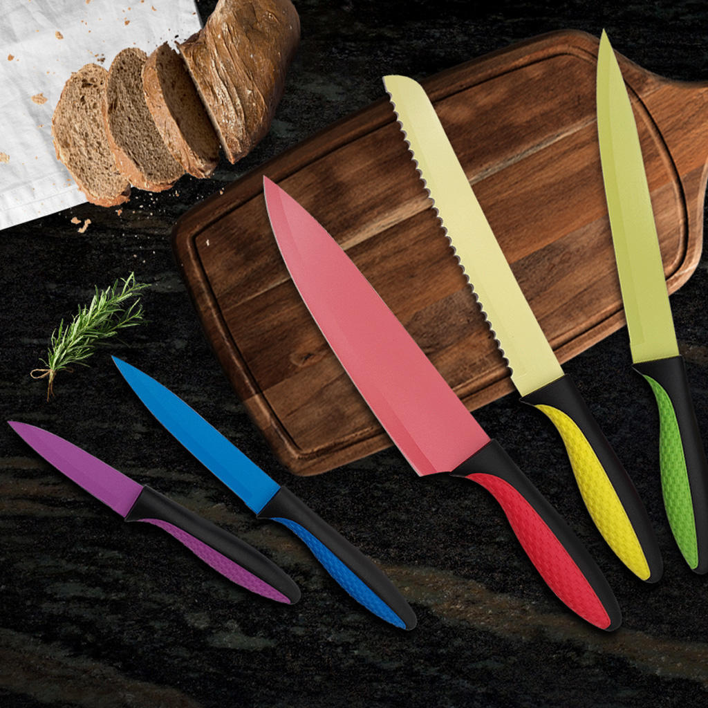 Yipfung Colourful Knives Set of 5,Stainless Steel Blade with Non Stick Coating