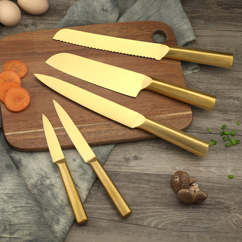 Yipfung Best quality Kitchen Knife Set of 5 Pieces-Gold titanium