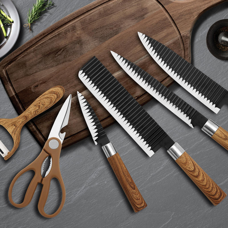 6 Pieces Kitchen Knife Set, Non-stick Professional Chef's Knives With Gift Box