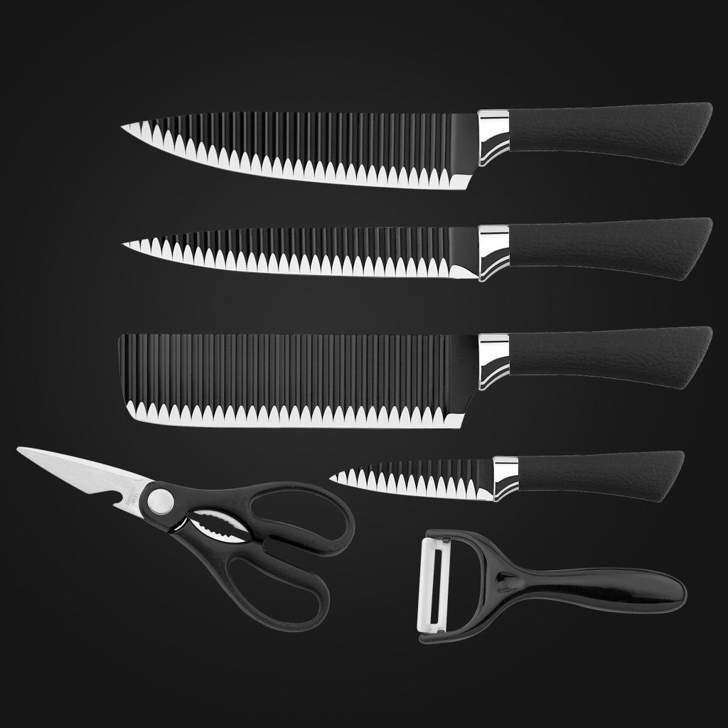 Stainless Steel Kitchen Knife Set black layer, Yipfung 6 Piece Chef Knife Set with Peeler and Scissor, Kitchen Cutlery Knives Set with Gift Box, Non-Stick Blades, Black and Silver