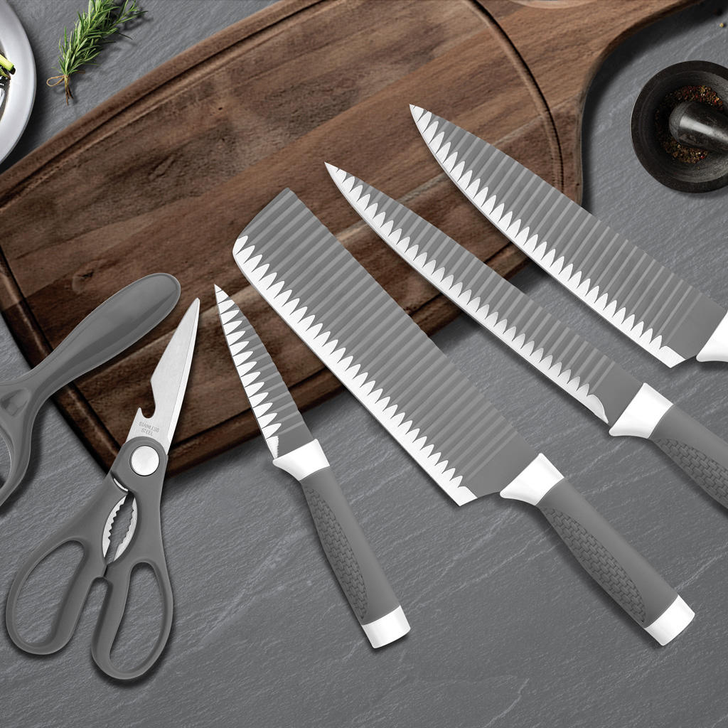 Yipfung 6 Pcs Gray Kitchen Knife Set, Stylish, Sleek, Modern and Asian Décor, Stainless Steel Cutlery with Kitchen Scissors, Ceramic Peeler and 4 Heavy Duty Knives, Chef Gift in Decorative Box