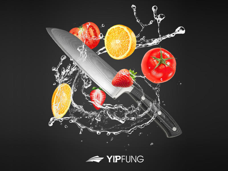 Yipfung Damascus kitchen knife video