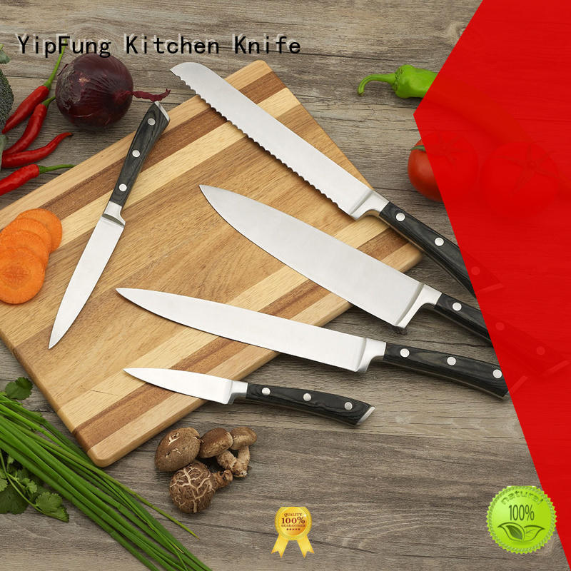 YipFung gold titanium kitchen knife set with good price for dinner