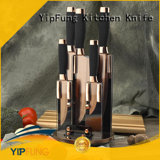 "Yipfung 6 Piece Knife Set | 5 Beautiful Rose Gold Knives with Knife Block | Sharp Kitchen Knife Sets | Multiple Size, All Purpose Kitchen Knives | 8"" Chef, Bread, & Carving Knife 