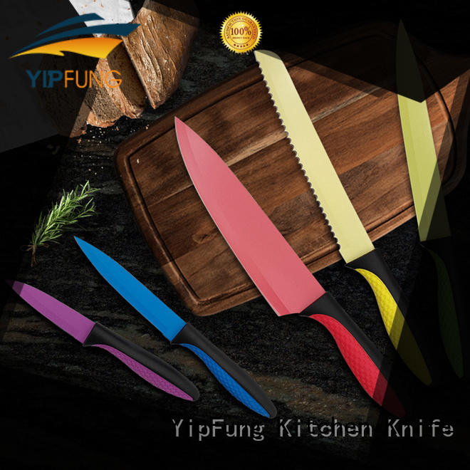 YipFung gold titanium kitchen knife design for restaurant