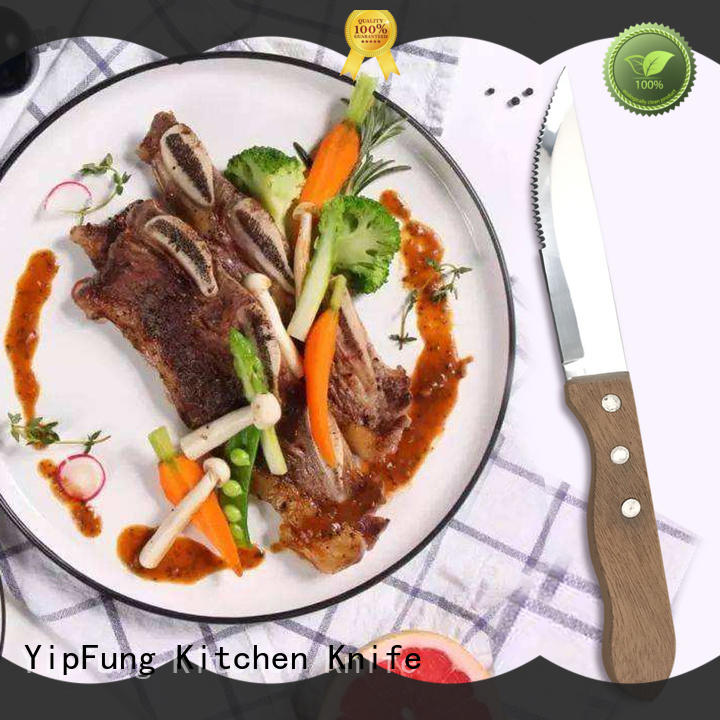 YipFung PP + TPR handle with taper grinding serrated steak knife series for restaurant