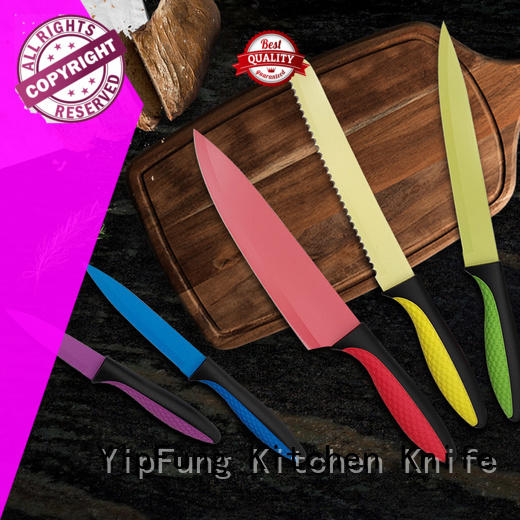 gold titanium custom chef knives design for dinner YipFung