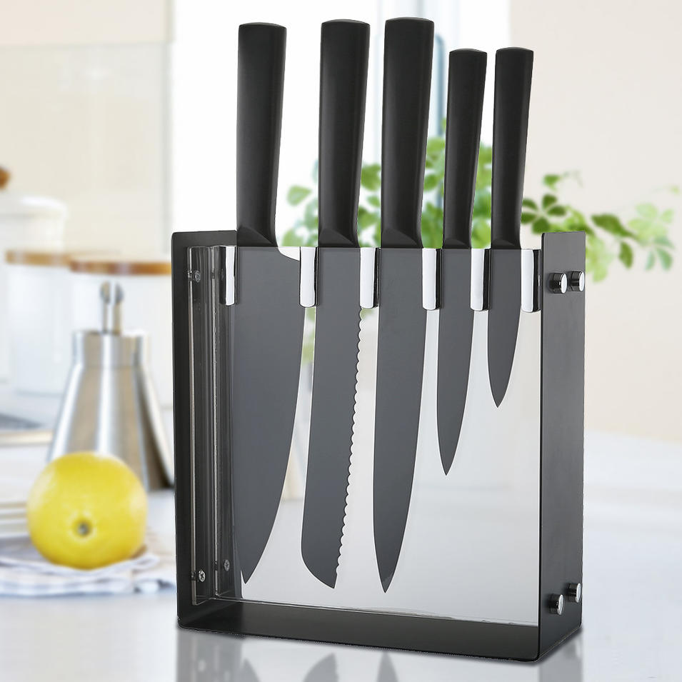 Hollow handle knife set-6pcs with black non stick coating- stainless steel black coating holder