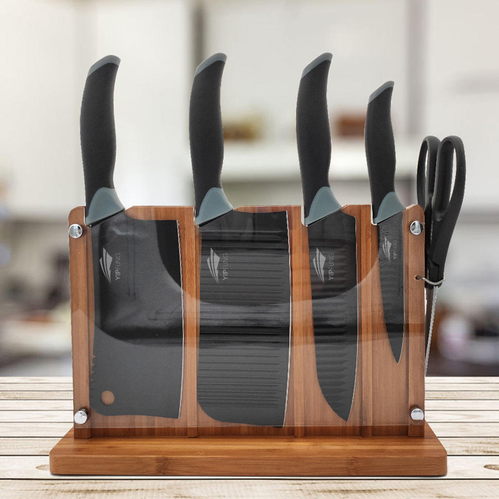 Stainless steel knife set with black non stick coating-Scissor-5PC