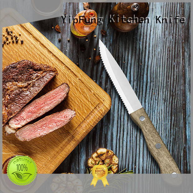 YipFung easy cutting serrated steak knives customized for dinner