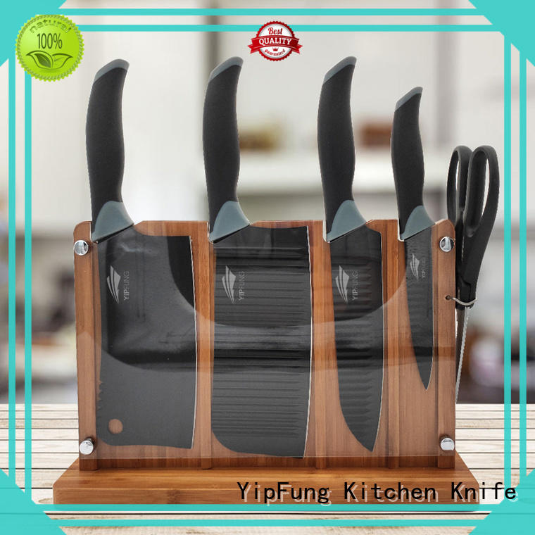 stainless knife set black non stick coating for kitchen YipFung