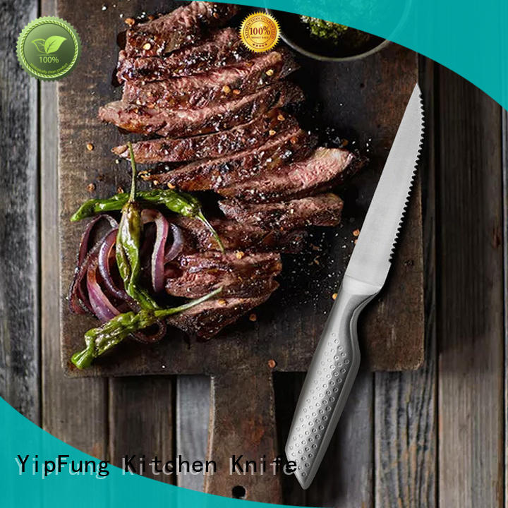 YipFung acacia wood hand forged steak knives series for restaurant