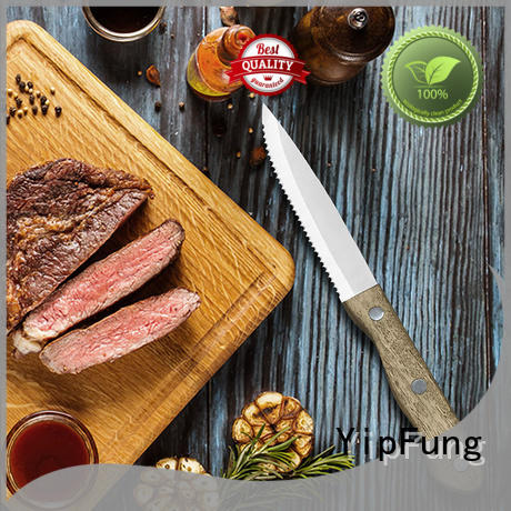 POM triple rivets serrated steak knives customized for home use